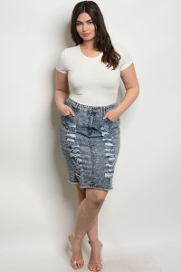 S11-6-1-S5123X DENIM WASH PLUS SIZE SKIRT 2-2-2