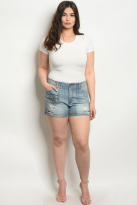 S11-4-1-S7033X DENIM WASH PLUS SIZE SHORTS 2-2-2