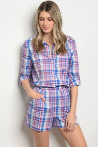 131-2-1-RHDTP-01 BLUE PINK PLAID ROMPER 2-2-2