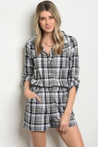 131-2-1-RHDTP-01 BLACK WHITE PLAID ROMPER 2-2-2