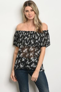 S11-15-3-T3645 BLACK IVORY FLORAL TOP 3-2-1