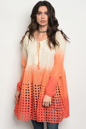 S10-3-2-D48 ORANGE RED TIE DYE TOP 2-2-2