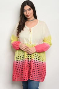 241-3-2-D48X PINK YELLOW PLUS SIZE TOP 3-3-2