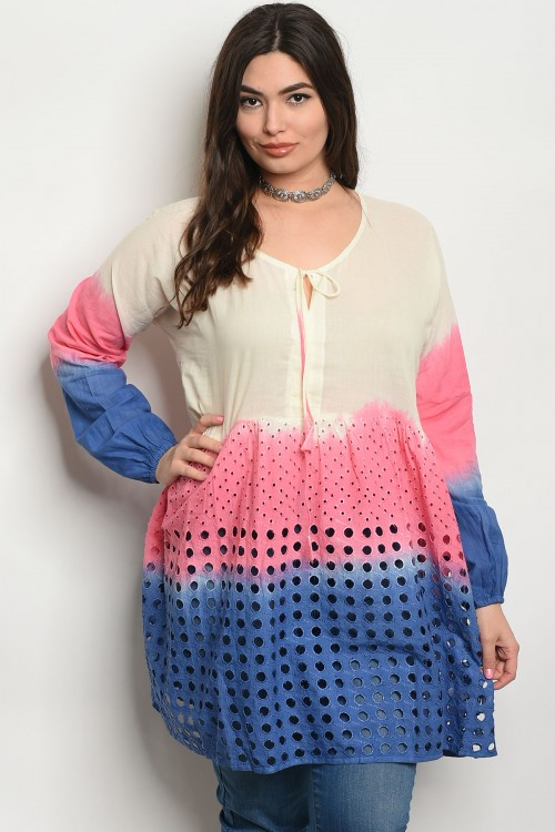 108-1-3-D48X BLUE PINK PLUS SIZE TOP 1-2-3