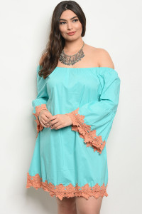 S7-2-5-D622X TURQUOISE PLUS SIZE DRESS 2-2-2