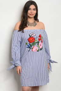 240-3-2-D783X BLUE STRIPES WITH FLOWER PRINT PLUS SIZE DRESS 2-2-2