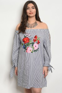 241-2-1-D783X GRAY STRIPES WITH FLOWER PRINT PLUS SIZE DRESS 2-2-2