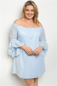 241-1-2-D615X OFF WHITE BLUE PLUS SIZE DRESS 2-2-2