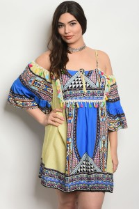 240-3-3-D426X BLUE MULTI PLUS SIZE DRESS 2-2-2