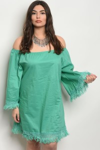 240-1-1-D580X GREEN PLUS SIZE DRESS 2-2-2