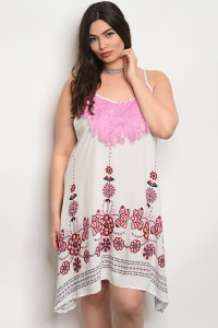 131-4-4-D478X IVORY PINK PLUS SIZE DRESS 2-2-2