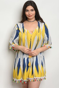 S11-19-2-D372X YELLOW NAVY PLUS SIZE DRESS 2-2-2