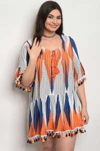 129-1-2-D372X ORANGE NAVY PLUS SIZE DRESS 2-2-2