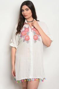 130-2-1-D531X OFF WHITE WITH FLOWER PRINT PLUS SIZE DRESS 2-2-2