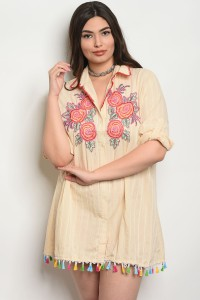 109-5-1-D531X BEIGE WITH FLOWER PRINT PLUS SIZE DRESS 2-2-2