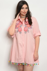 122-1-1-D531X PINK WITH FLOWER PRINT PLUS SIZE DRESS 2-2-2