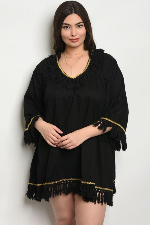 111-5-3-D434X BLACK PLUS SIZE DRESS 2-2-2
