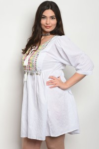 241-3-3-D603X WHITE PLUS SIZE DRESS 2-2-2