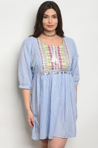 126-1-1-D603X BLUE PLUS SIZE DRESS 2-2-2