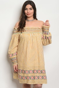 S2-10-1-D476X MUSTARD STRIPES PLUS SIZE DRESS 2-2-2