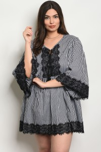 S2-9-2-D461X BLACK CHECKERED PLUS SIZE DRESS 2-2-2