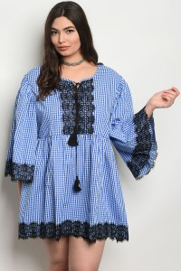 S4-2-2-D461X BLUE CHECKERED PLUS SIZE DRESS 2-2-2