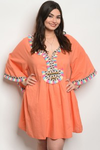 126-1-1-D433X CORAL PLUS SIZE DRESS 2-2-2