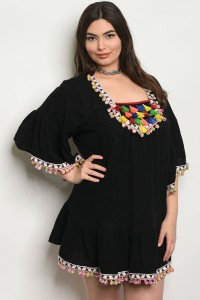 129-1-1-D431X BLACK MULTI PLUS SIZE DRESS 2-2