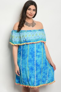 S24-2-2-D443X TURQUOISE YELLOW PLUS SIZE DRESS 2-2-2
