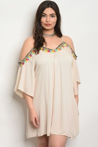 S9-1-2-D440X SAND PLUS SIZE DRESS 2-2-2