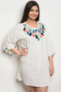 119-2-3-D364X WHITE PLUS SIZE DRESS 2-2-2