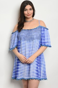 S11-18-3-D441X BLUE TIE DYE PLUS SIZE DRESS 2-2-2