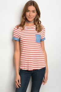 C62-B-2-T2280 IVORY RED STRIPES TOP 2-2-2