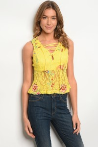 132-3-4-T03268 YELLOW FLORAL TOP 2-2-2