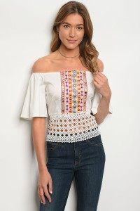 S12-3-4-T006 OFF WHITE OFF SHOULDER TOP 2-2-2