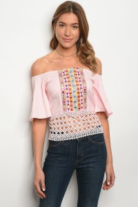 S11-7-5-T006 PINK OFF SHOULDER TOP 2-2-2