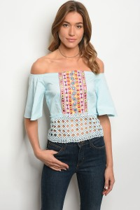 S11-7-5-T006 BLUE OFF SHOULDER TOP 2-2-2
