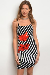 C70-A-5-D3166 WHITE BLACK STRIPES DRESS 2-2-2