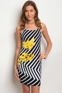 C68-A-6-D3166 WHITE NAVY STRIPES DRESS 2-2-2