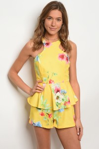 S12-5-2-R02728 YELLOW FLORAL ROMPER 2-2-2
