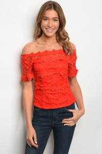 S12-5-2-T6013 RED OFF SHOULDER TOP 2-2-1