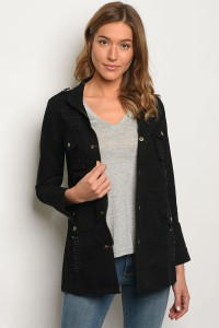 S9-16-1-J1219 BLACK DENIM CARGO JACKET 2-2-2