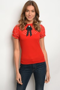 C78-B-3-T3353 RED WITH POLKA DOT TOP 2-2-2