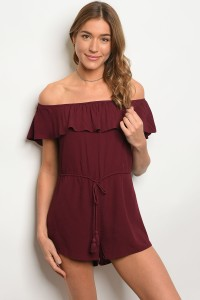 S13-8-4-NA-R66371 WINE OFF SHOULDER ROMPER 3-2-1