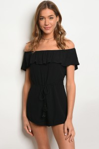 115-2-5-NA-R66371 BLACK OFF SHOULDER ROMPER 3-2-1