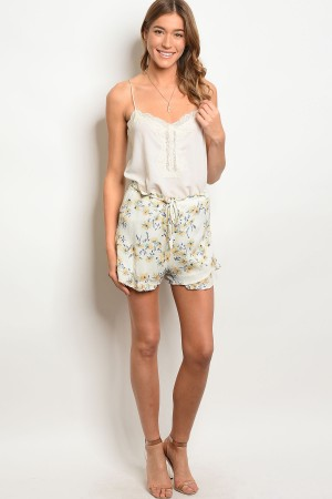 115-2-5-NA-S0301 IVORY FLORAL SHORTS 2-2-2