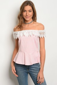C101-B-3-T3050 PINK CHECKERS TOP 2-2-2