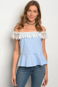 C99-B-2-T3050 BLUE CHECKERS TOP 2-2-2