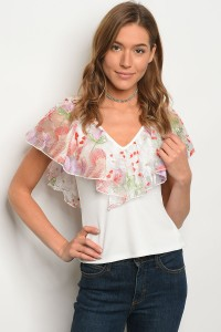 C81-B-2-T3411 IVORY MESH FLORAL TOP 2-2-2