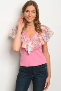C81-B-4-T3411 PINK MESH FLORAL TOP 2-2-2